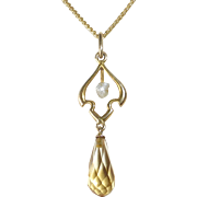 14k Edwardian Faceted Citrine Teardrop Lavaliere Pendant Necklace