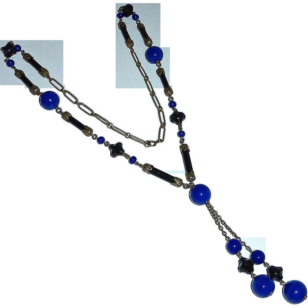 Art Deco Flapper Necklace w Cobalt Blue & Black Glass Beads