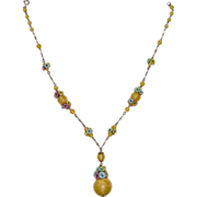 Czech Art Deco Lemon Pearl Glass Bead Necklace