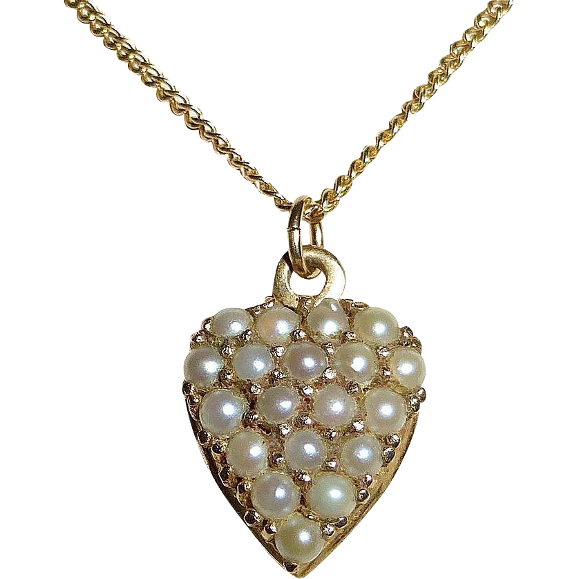 Antique Victorian 14k Pearl Studded Heart & Chain