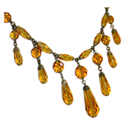 Art Deco Faceted Amber Glass Teardrop Fringe Bead Necklace