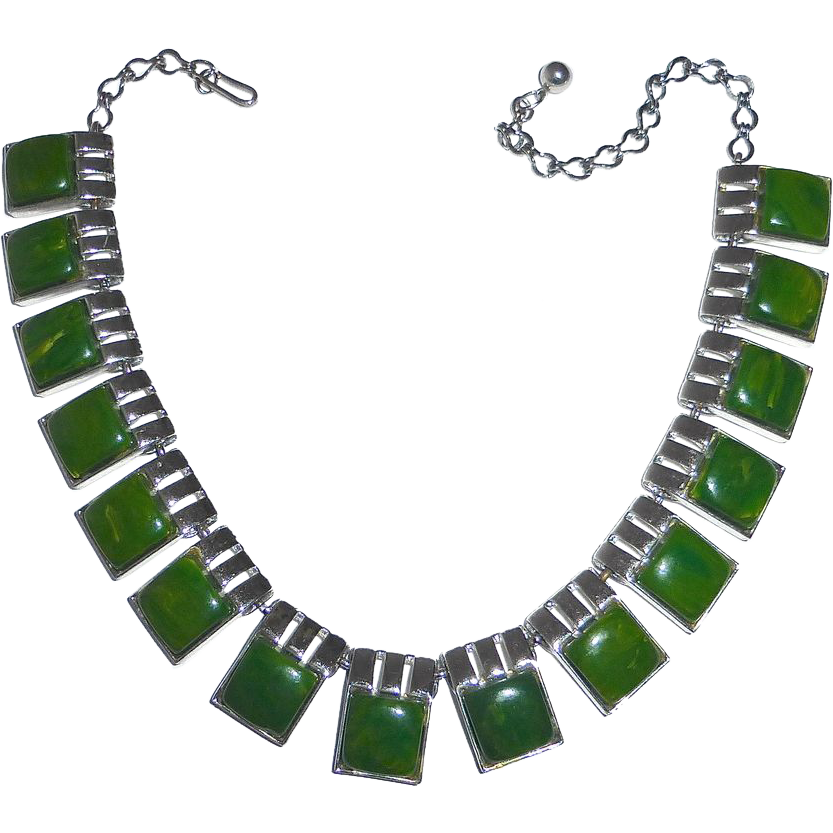 Green Bakelite & Chrome Adjustable Panel Bib Necklace
