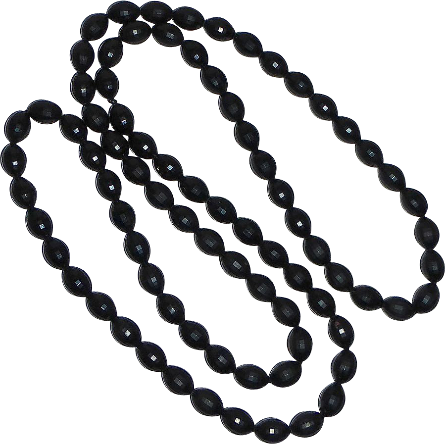 Vintage Black Oval Faceted Bead Necklace