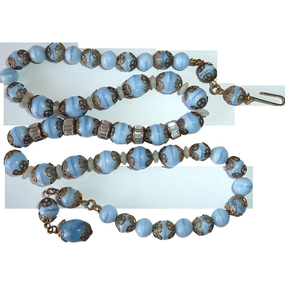 Blue Glass Beads Necklace w Rhinestone & Filigree Caps