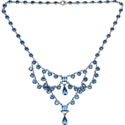 Glittering Blue Crystal Festoon Necklace w Rhodium Finish