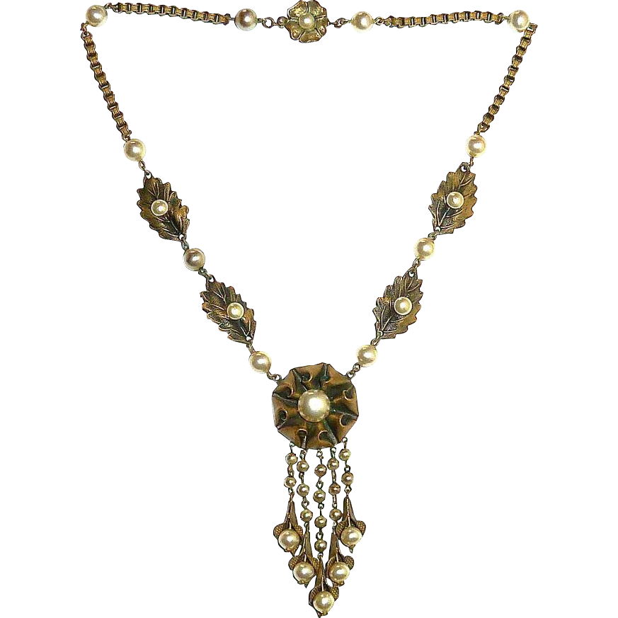 Brass Necklace Faux Pearl Pendant Graduated Drops Unsigned Miriam Haskell