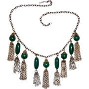 Vintage Brass Collar Necklace Green Beads & Tassels