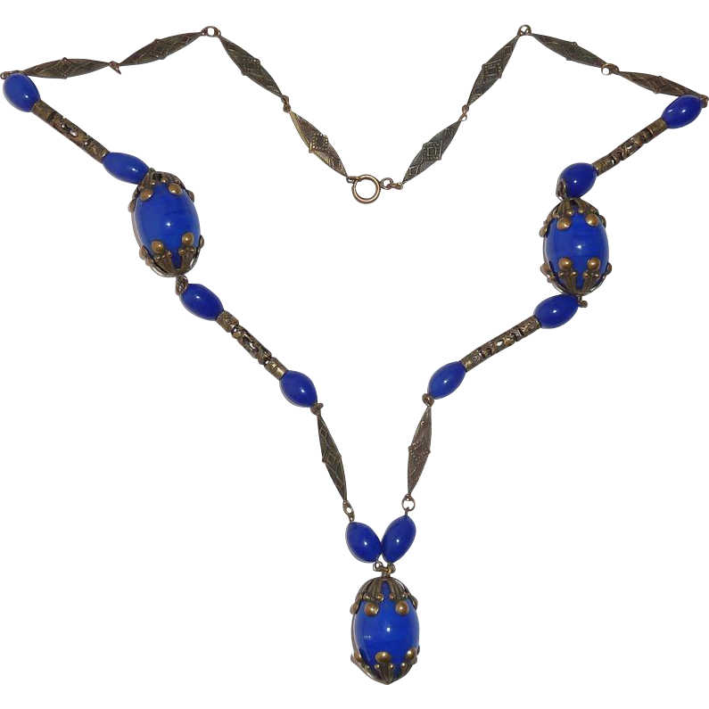 Art Deco Brass Flapper Necklace w Blue Art Glass Beads