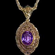 Art Deco Gold Filled Filigree Amethyst Glass Jewel Necklace