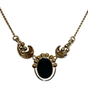Gold Filled Onyx Mid Century Modernist Design Necklace