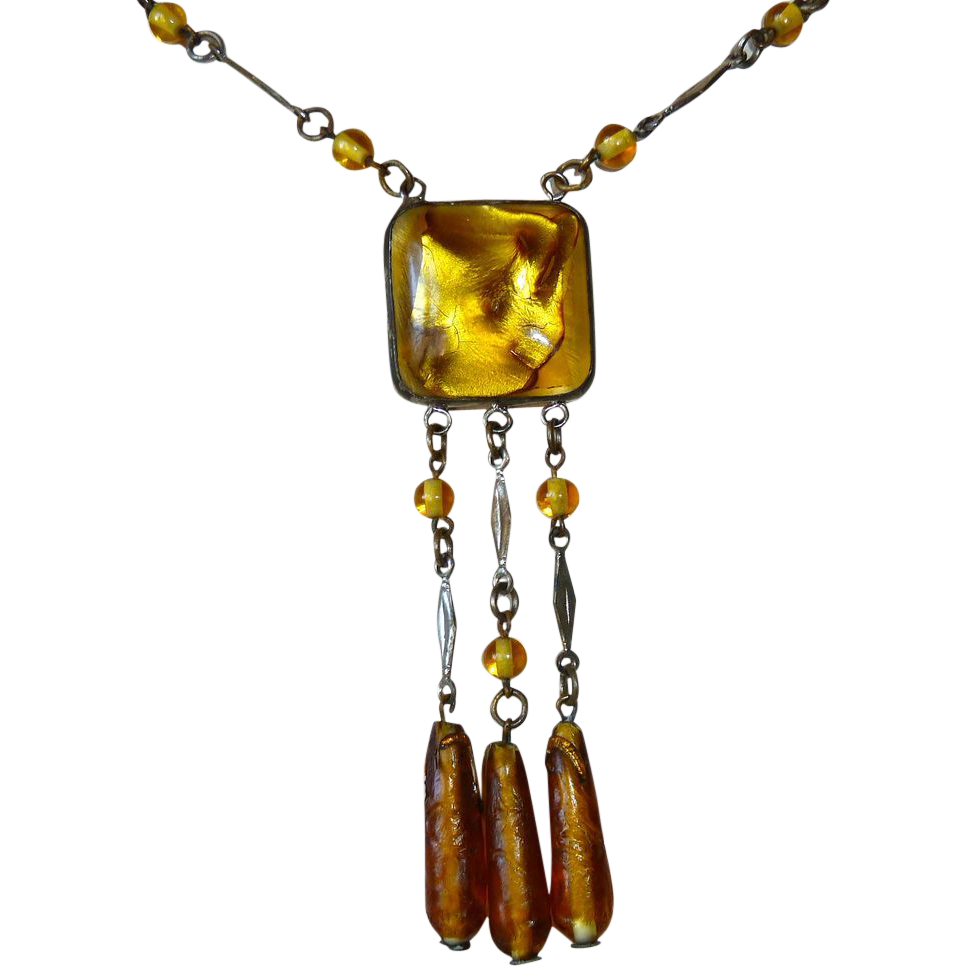 Art Deco Golden Yellow Foil Glass Pendant Necklace 3 Bead Drops