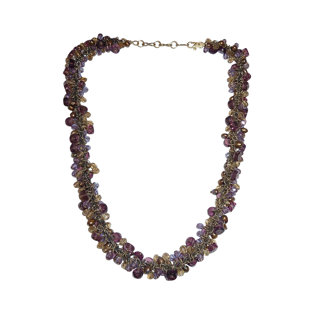 Multi Bead Drop Necklace~Shades of Purple & Gold