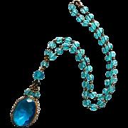 Art Deco Peacock Blue Glass Bead Pendant Necklace