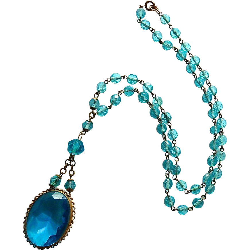 Art Deco Peacock Blue Glass Bead Pendant Necklace