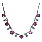Art Deco Pink & White Paste Necklace Rhodium Plate
