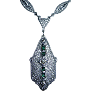 Art Deco Rhodium Plated Filigree Pendant Necklace