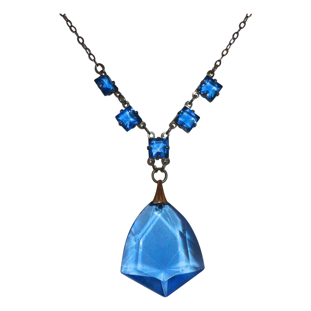 Art Deco Silver Tone Necklace~Blue Glass Jewels