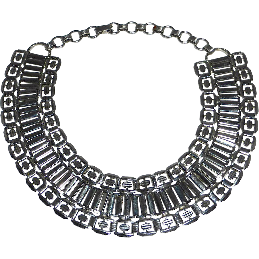 Silver Tone Wide Collar Cleopatra Necklace