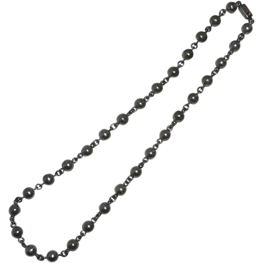 Quality Mexican Sterling Silver Bead Necklace