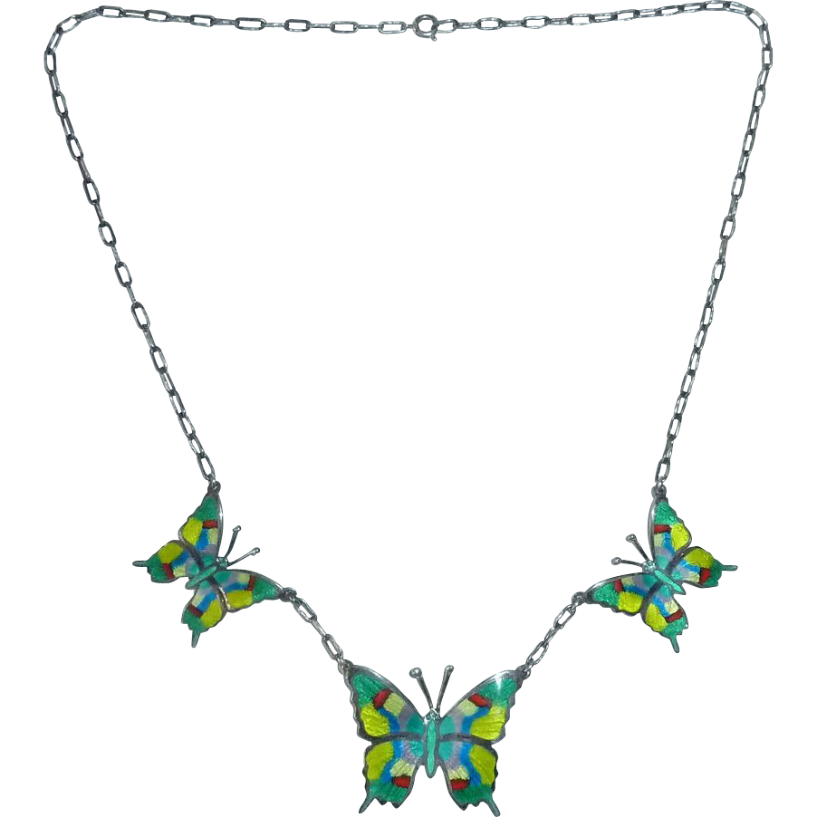 Mexican Sterling Enamel Butterfly Necklace