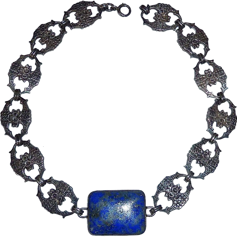 Art Deco Sterling Floral Link Necklace Large Lapis Cabochon