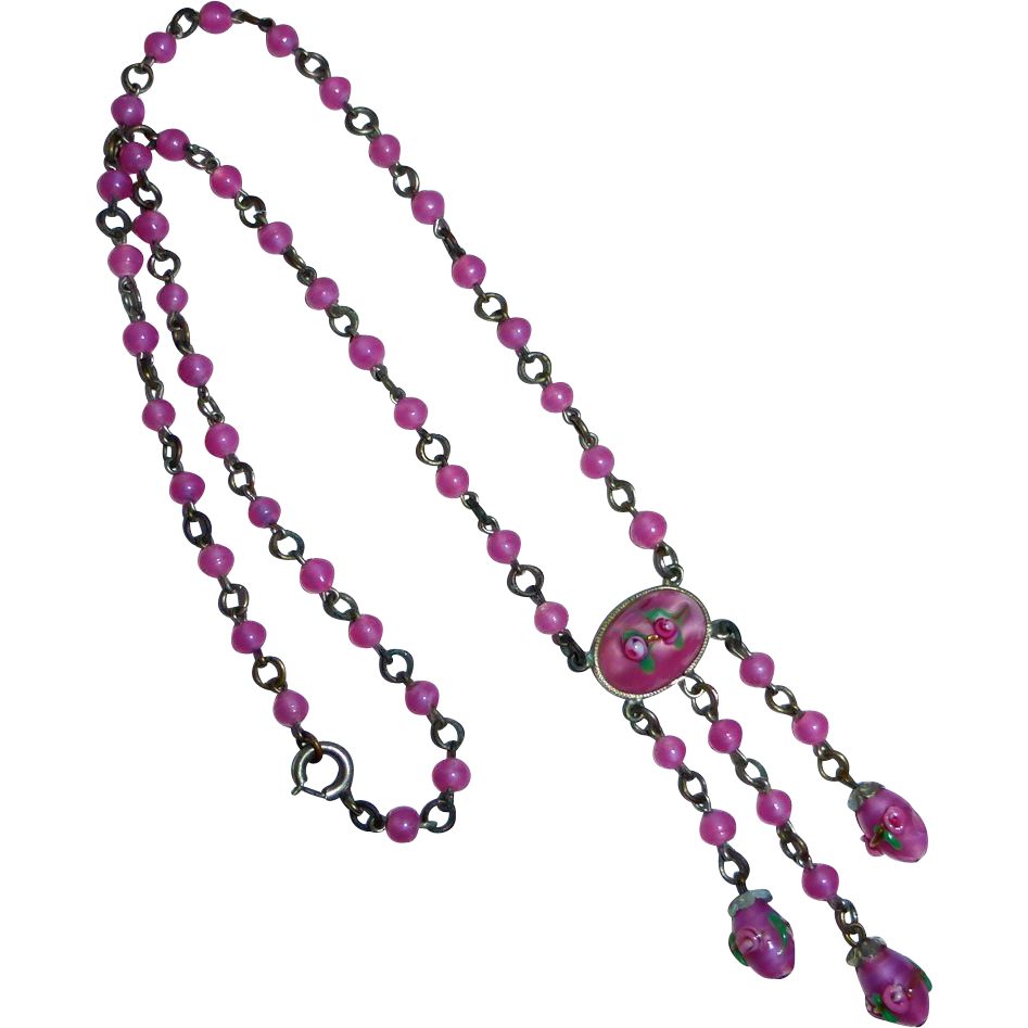 Art Deco Art Glass Necklace in Pearly Pink