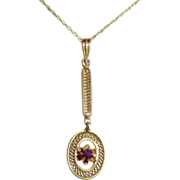Art Deco 10k Amethyst Lavaliere Necklace