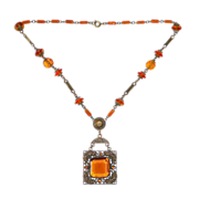 Antique Victorian Amber Glass Jewel & Bead Necklace