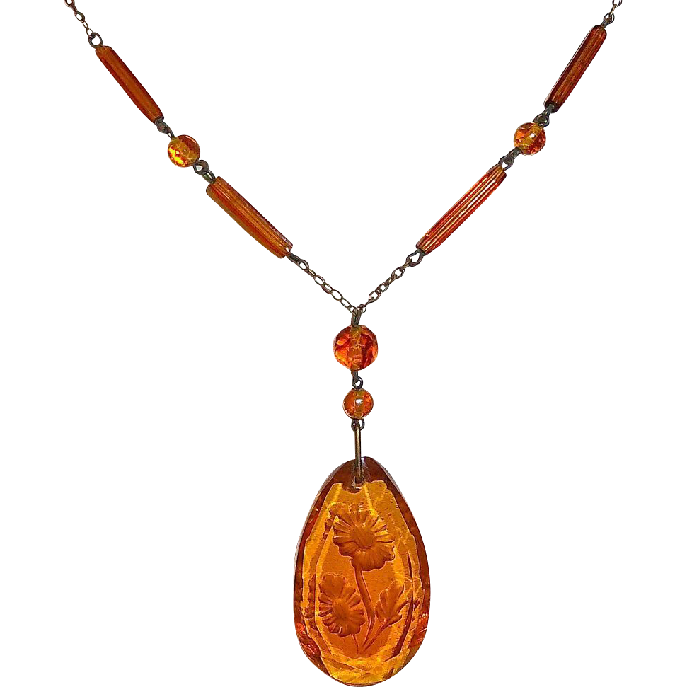Art Deco Czech Amber Glass Etched Floral Drop Necklace