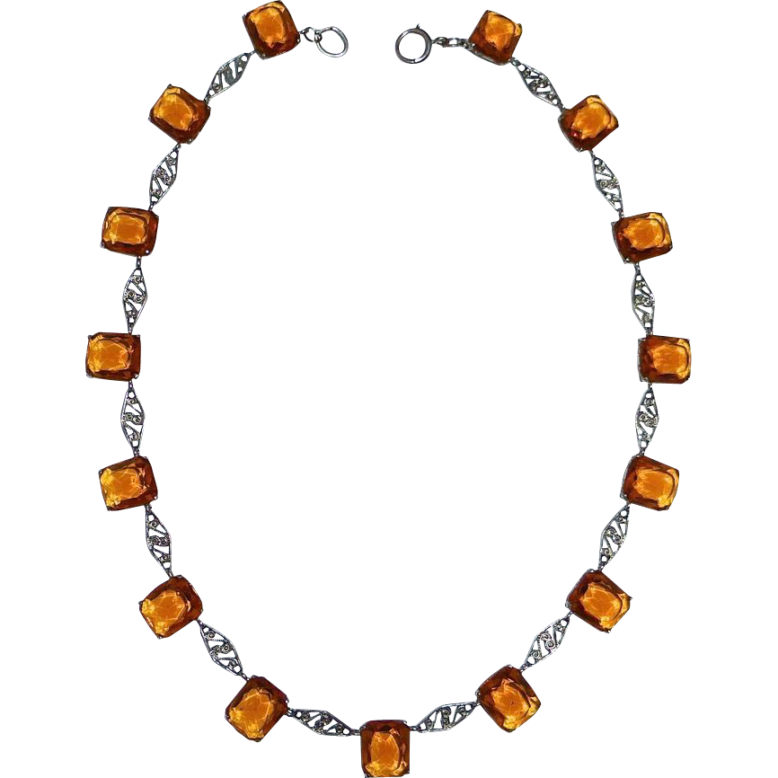 Art Deco Amber Glass Jewel & Filigree Link Necklace