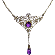 Art Deco Gilt Brass Filigree Necklace Amethyst Glass Jewels