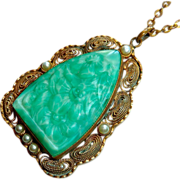 Art Deco Filigree Brass Pendant Floral Peking Glass