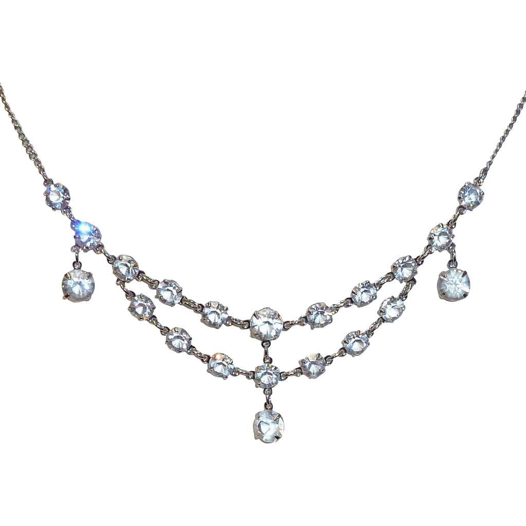 Sparkling Rhodium Finish Cut Crystal Festoon Necklace