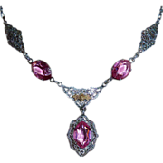 Art Deco Rhodium Filigree Necklace Pink Jewels