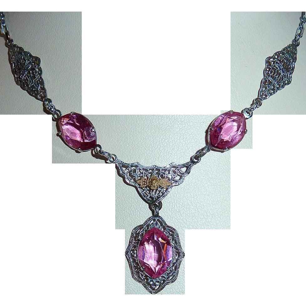 Art Deco Rhodium Filigree Necklace Pink Jewels