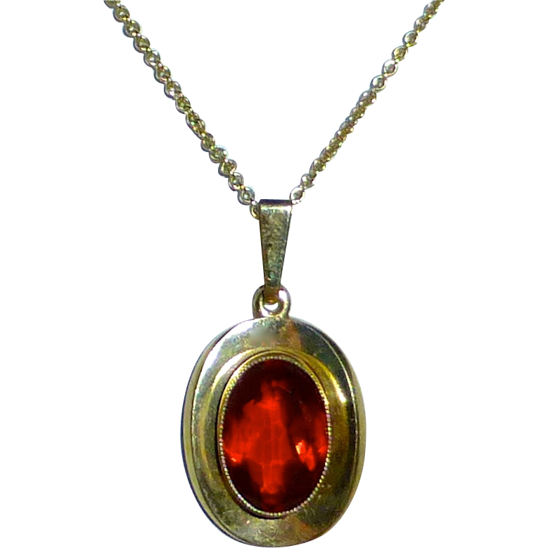 Rolled Gold Pendant Necklace Topaz Glass Jewel