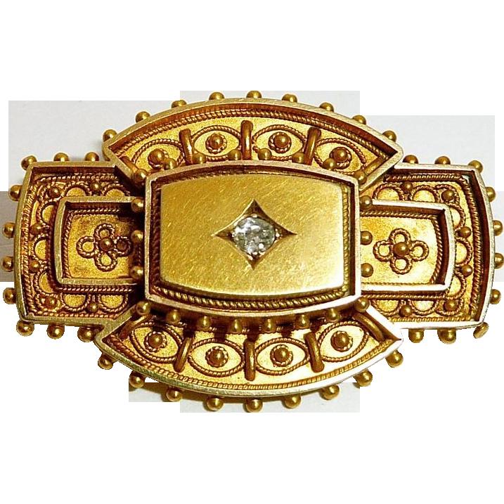 Antique Victorian Etruscan Revival Pin Mine Cut Diamond