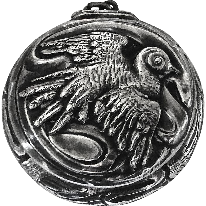Sterling Box Pendant Repousse Bird Top Round Box Pendant