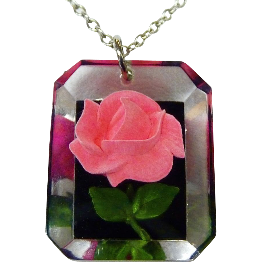 Reverse Carved Lucite Hot Pink Rose Pendant c1950s