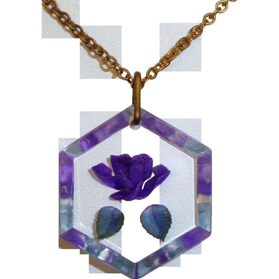 Reverse Carved Lucite Violet Flower Pendant c1950s