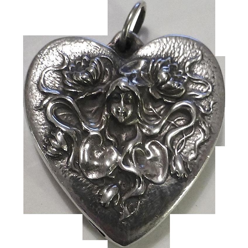 Henryk Winograd 999 Repousse Silver Heart Art Nouveau Woman