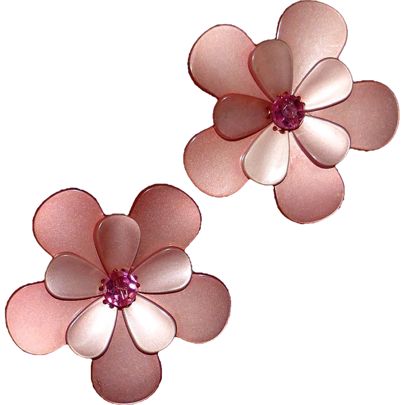 Moonglow 1960s Luminous Layered Large Flower Pins