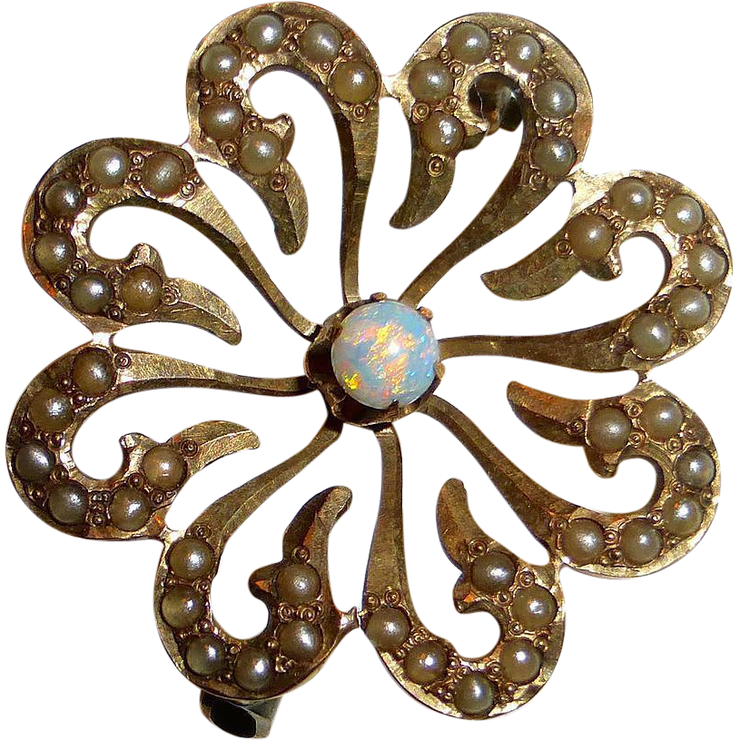 Antique Victorian 10k Rose Gold Pin Seed Pearls & Opal