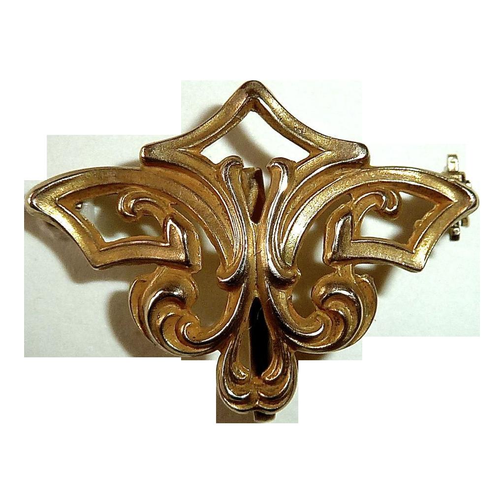 Victorian 10k YG Art Nouveau Watch Pin