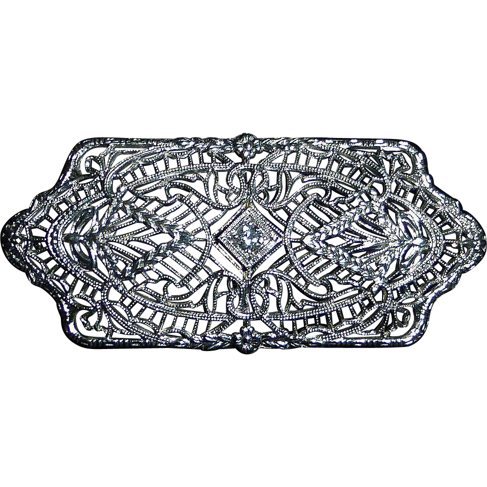 Art Deco 14k White Gold Filigree Pin