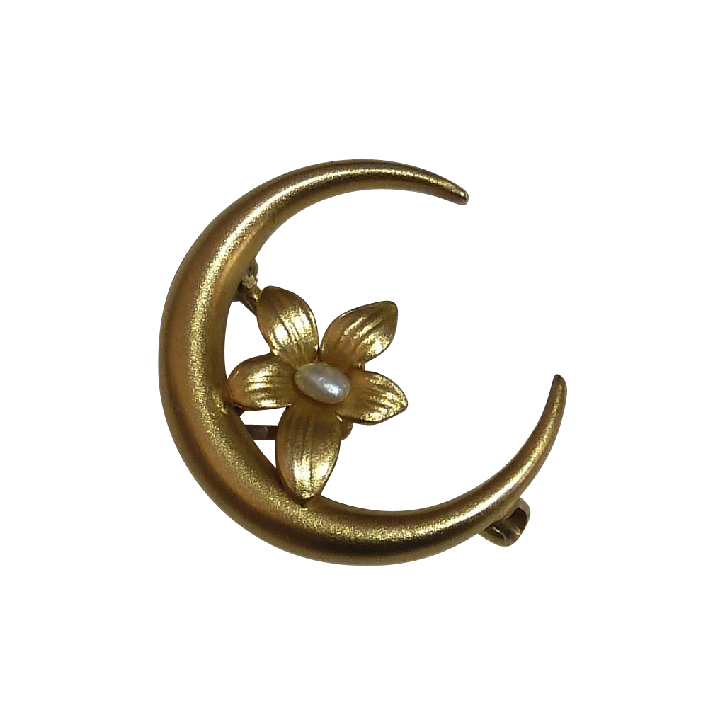 Antique Victorian 14k Honeymoon Crescent Pin Flower FWP