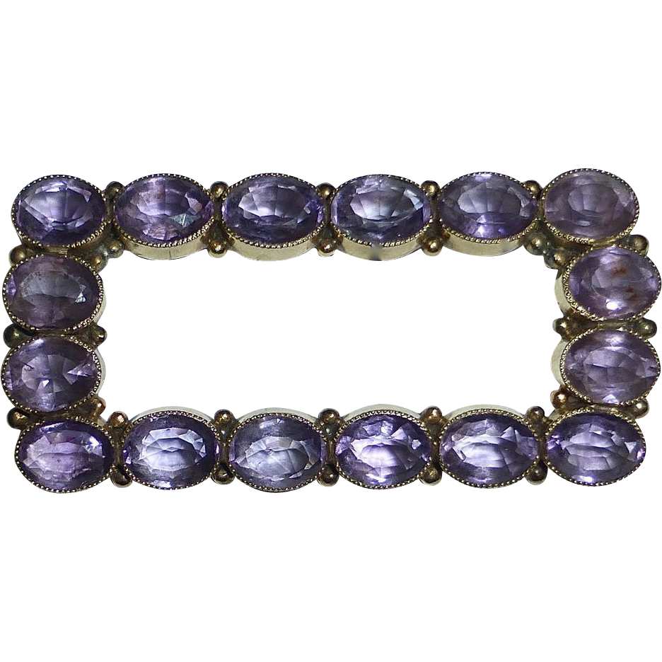 14k Amethyst Antique Edwardian Brooch 16 Faceted Stones