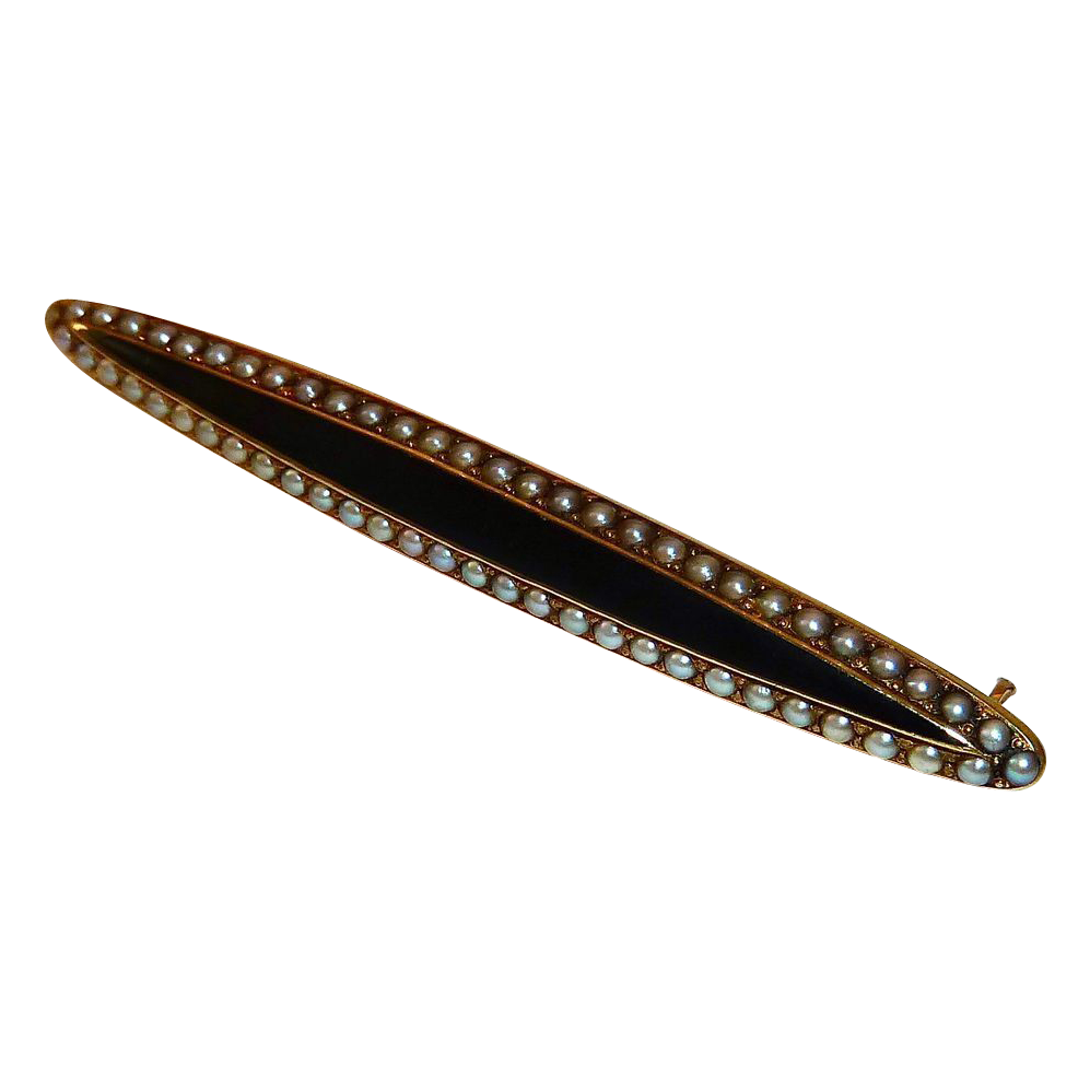 14k YG Victorian Mourning Pin Enamel & Seed Pearls