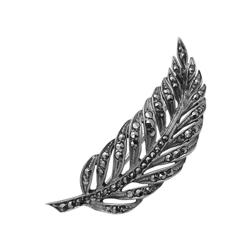 Marcasite 835 Silver Pierced Feather Pin