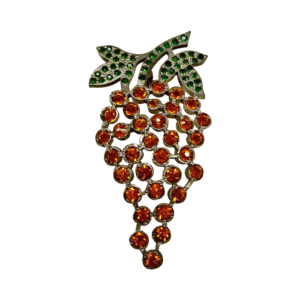 Art Deco Deep Set Rhinestone Grapes & Leaves Pin